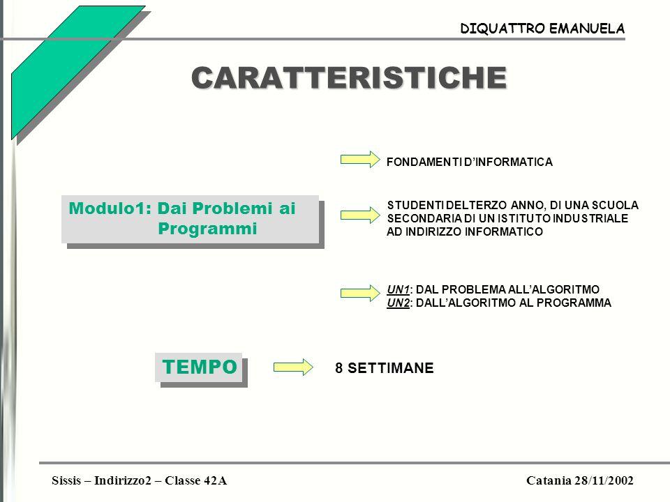 CARATTERISTICHE TEMPO Modulo1: Dai Problemi ai Programmi 8 SETTIMANE
