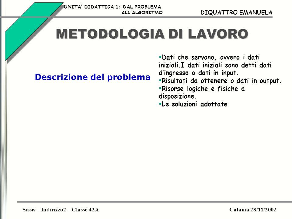 METODOLOGIA DI LAVORO Descrizione del problema
