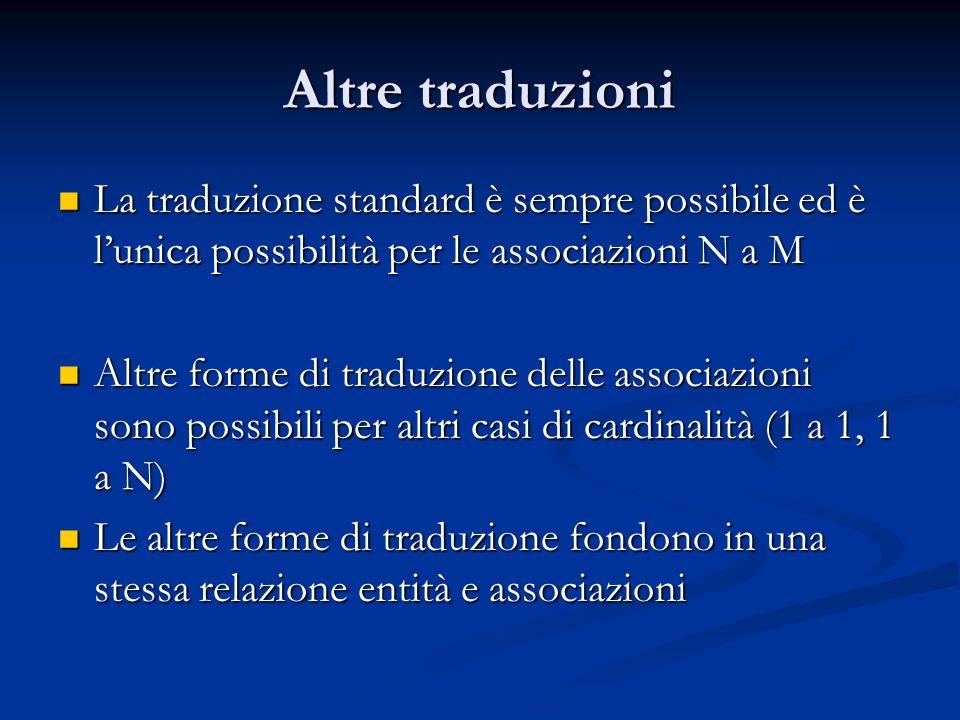 Altre traduzioniLa traduzione standard è sempre possibile ed è l'unica possibilità per le associazioni N a M.