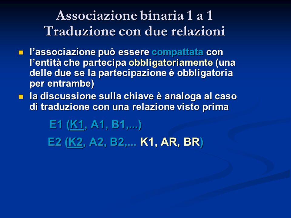 Associazione binaria 1 a 1 Traduzione con due relazioni