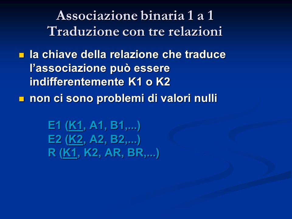 Associazione binaria 1 a 1 Traduzione con tre relazioni