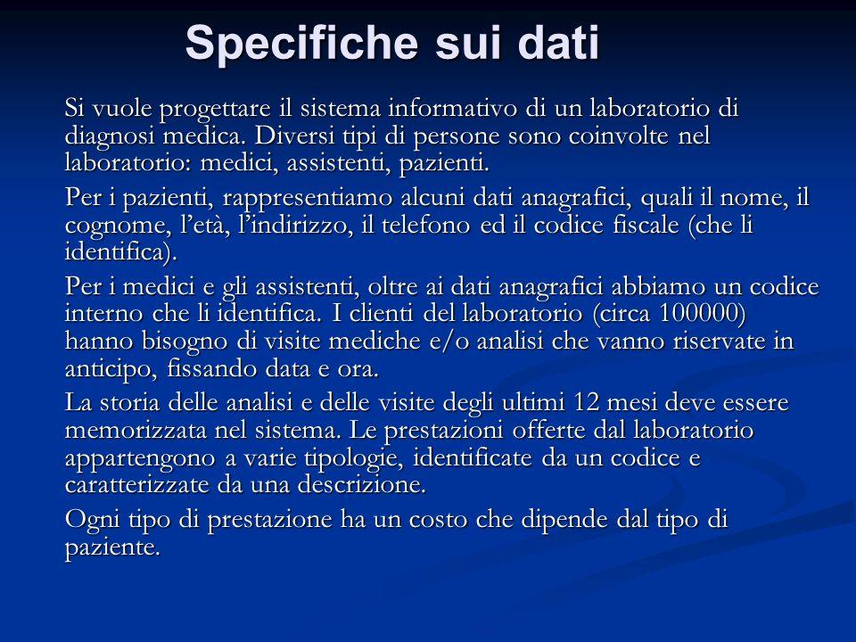 Specifiche sui dati