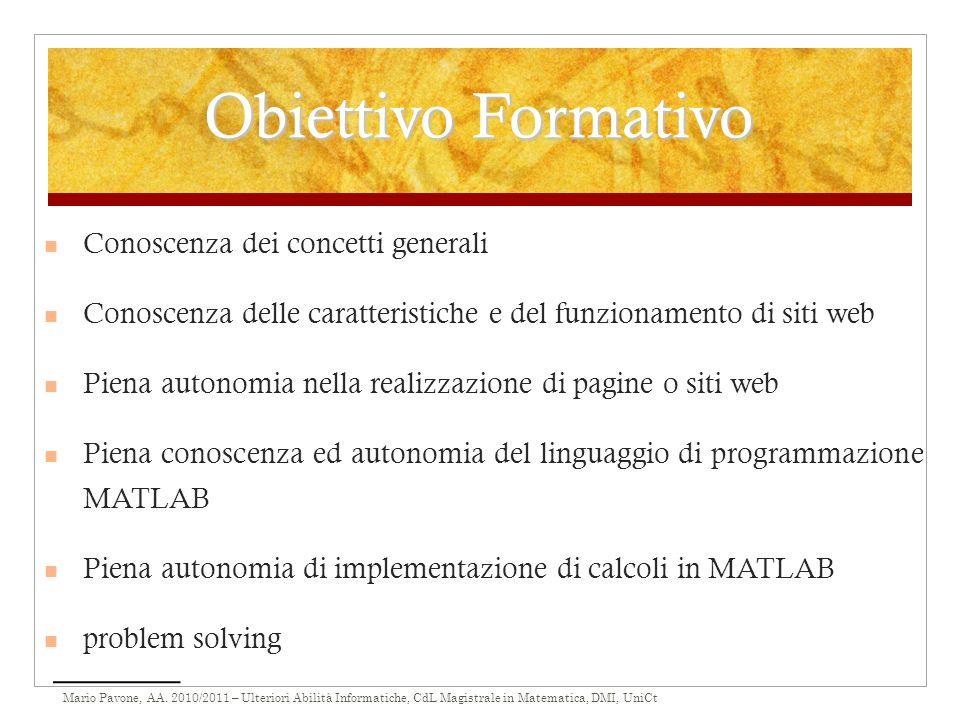 Obiettivo Formativo Conoscenza dei concetti generali