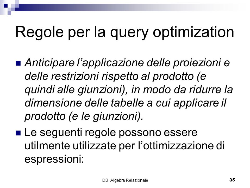 Regole per la query optimization