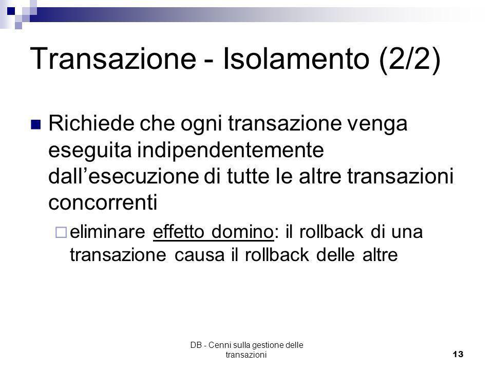 Transazione - Isolamento (2/2)