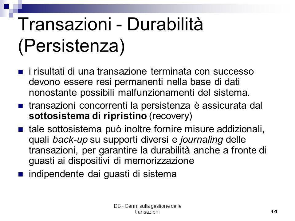 Transazioni - Durabilità (Persistenza)