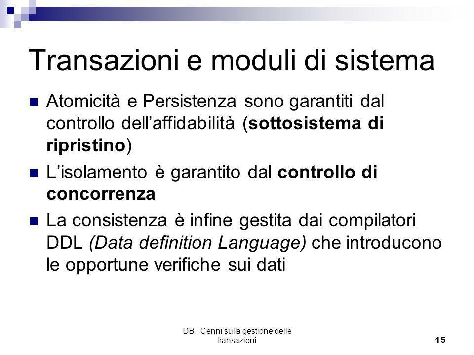 Transazioni e moduli di sistema