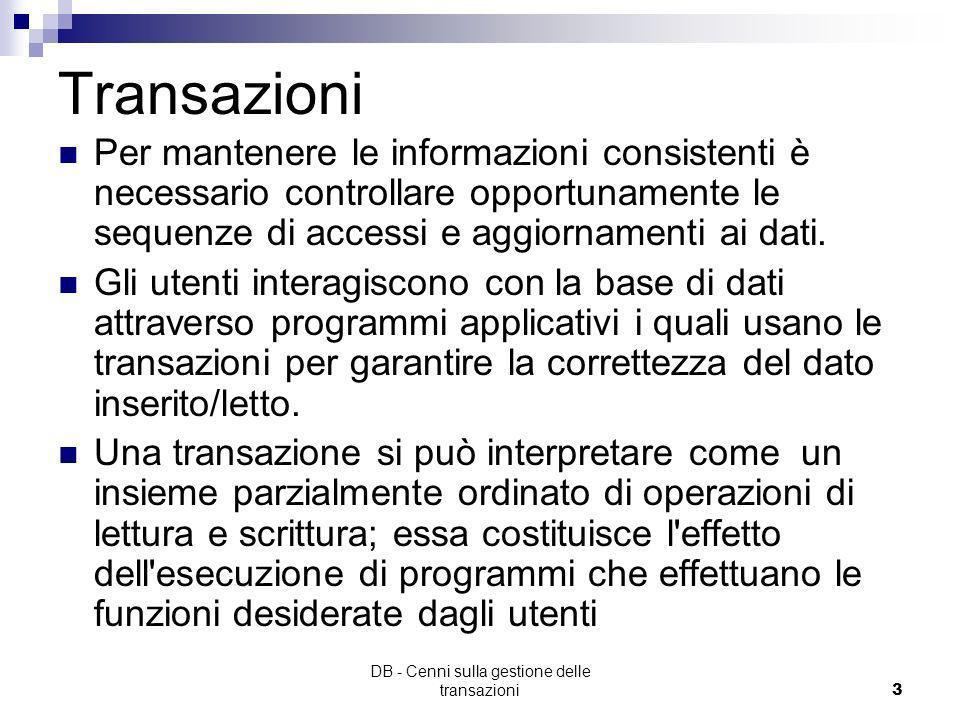 DB - Cenni sulla gestione delle transazioni