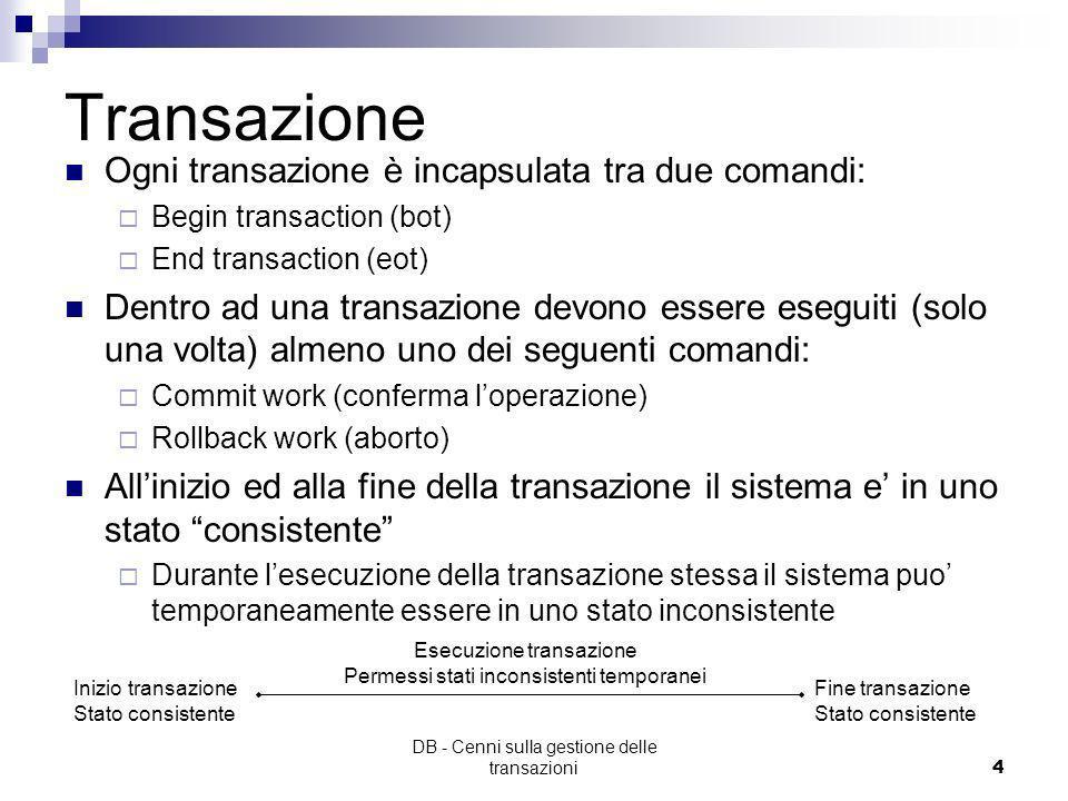 Transazione Ogni transazione è incapsulata tra due comandi: