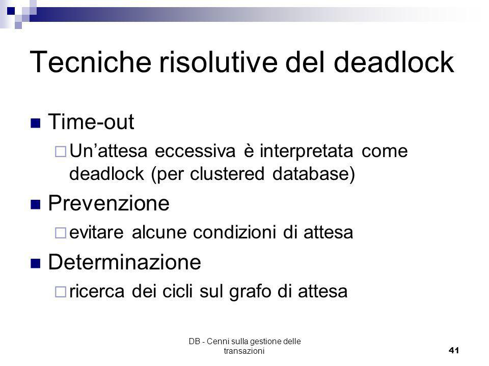 Tecniche risolutive del deadlock