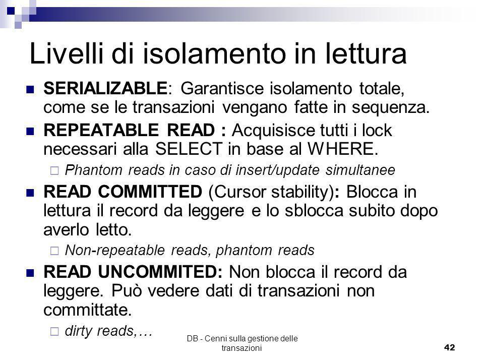 Livelli di isolamento in lettura