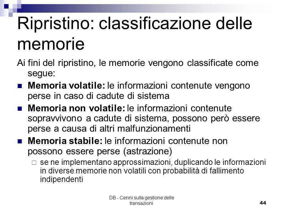 Ripristino: classificazione delle memorie