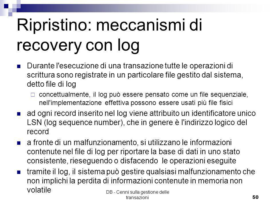 Ripristino: meccanismi di recovery con log