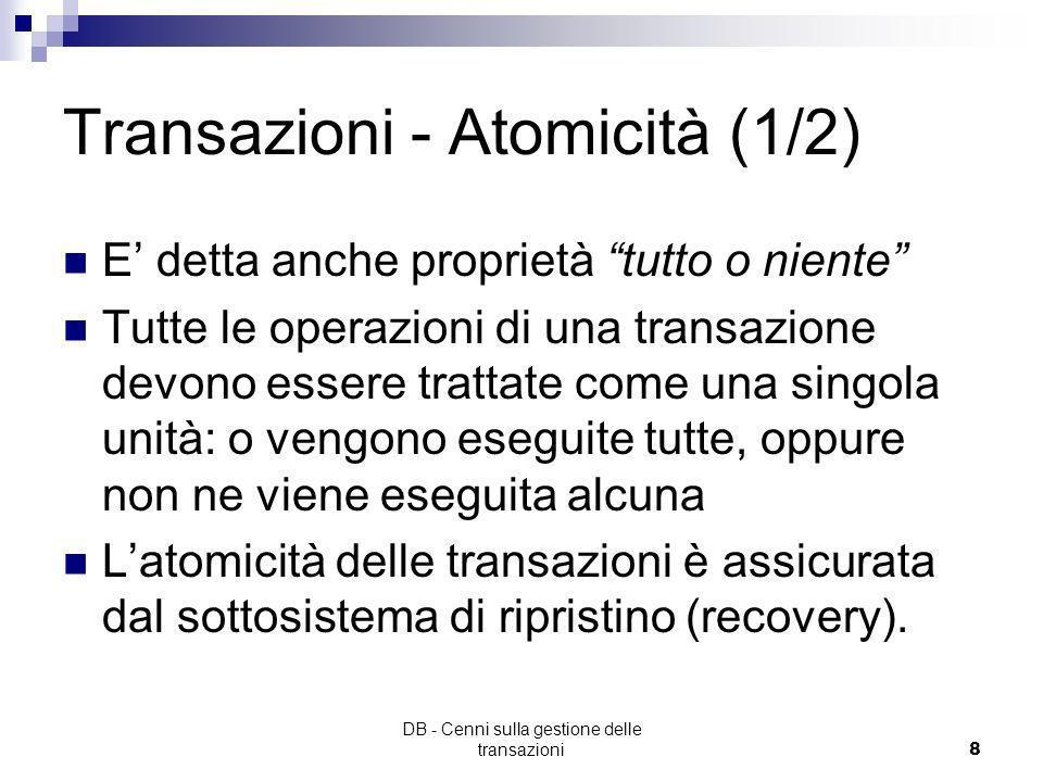 Transazioni - Atomicità (1/2)