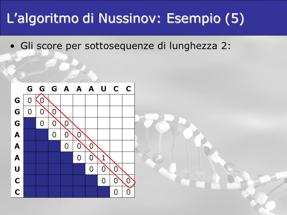 L'algoritmo di Nussinov: Esempio (5)