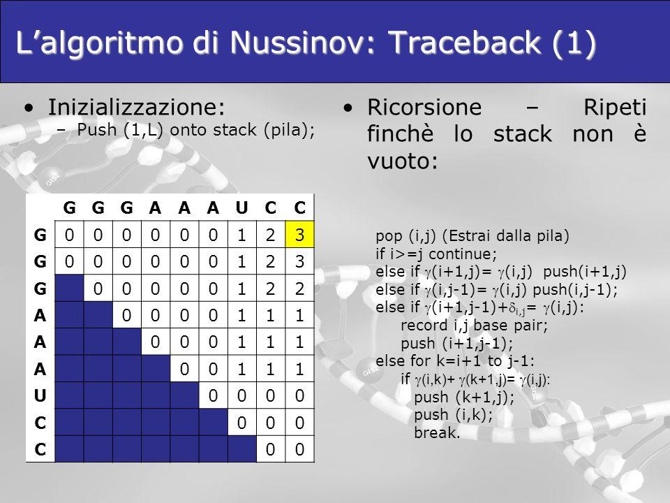 L'algoritmo di Nussinov: Traceback (1)