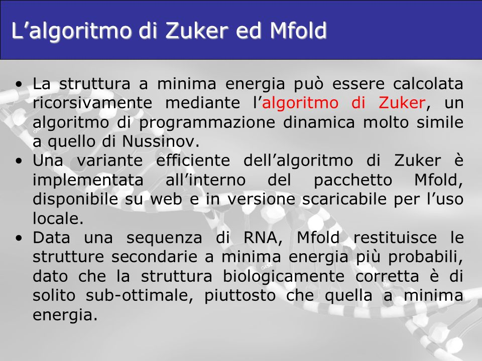 L'algoritmo di Zuker ed Mfold