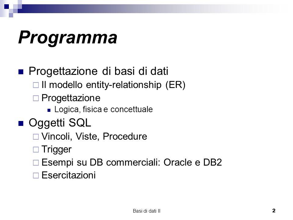 Programma Progettazione di basi di dati Oggetti SQL