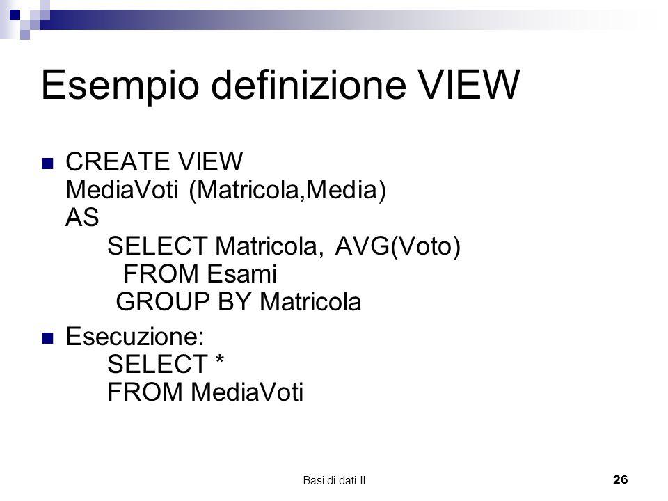 Esempio definizione VIEW