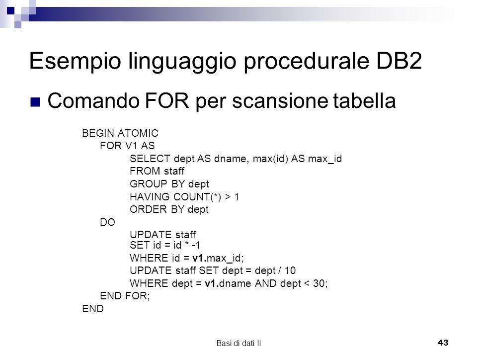 Esempio linguaggio procedurale DB2