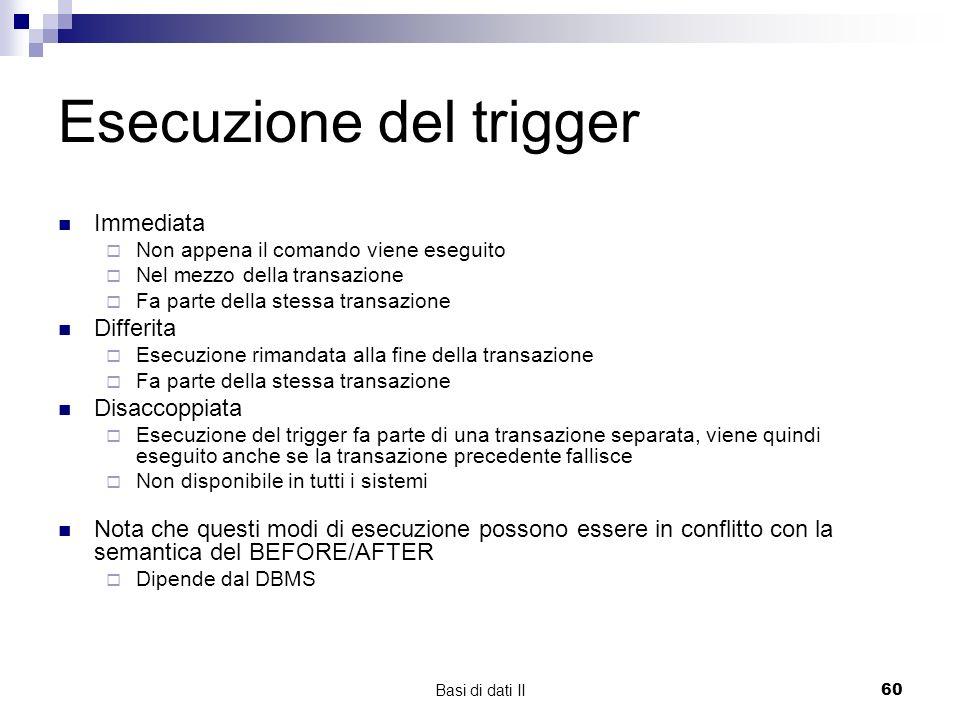 Esecuzione del trigger