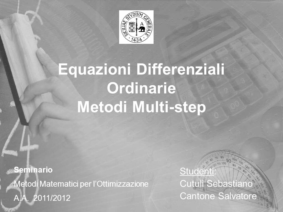 Equazioni Differenziali Ordinarie Metodi Multi-step