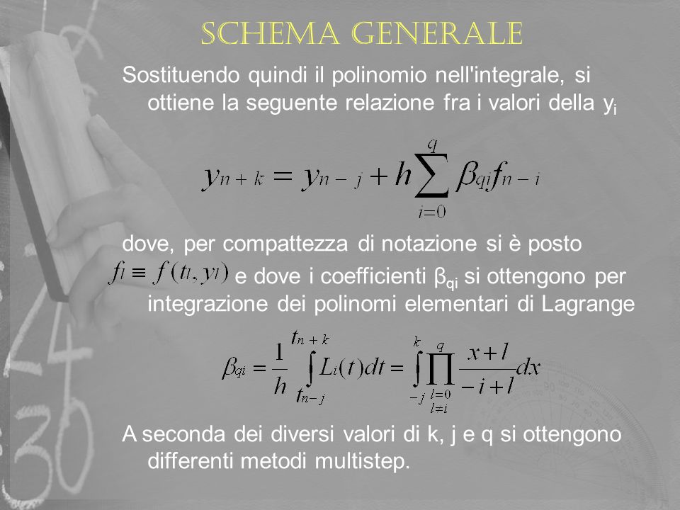 Schema generale Sostituendo quindi il polinomio nell integrale, si ottiene la seguente relazione fra i valori della yi.