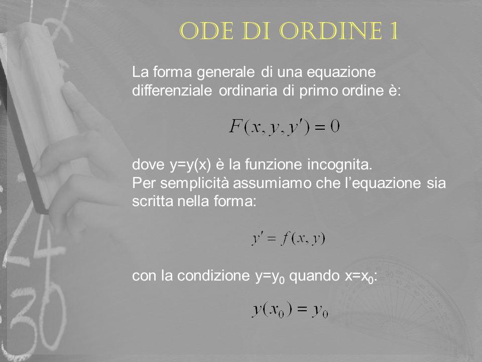 ODE di ordine 1 La forma generale di una equazione differenziale ordinaria di primo ordine è: dove y=y(x) è la funzione incognita.