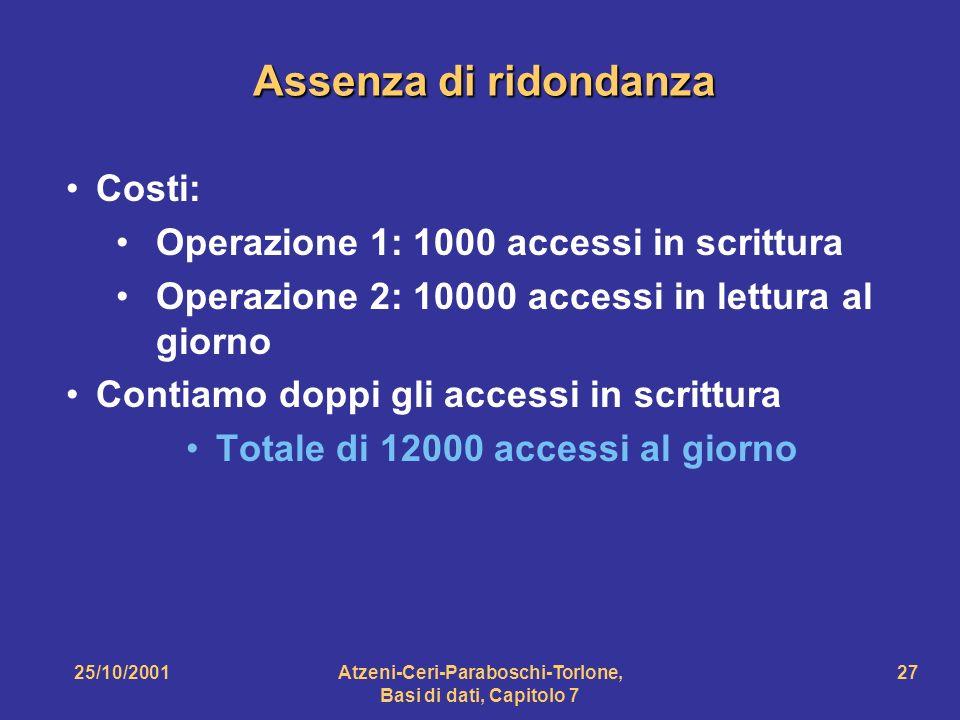 Assenza di ridondanza Costi: Operazione 1: 1000 accessi in scrittura