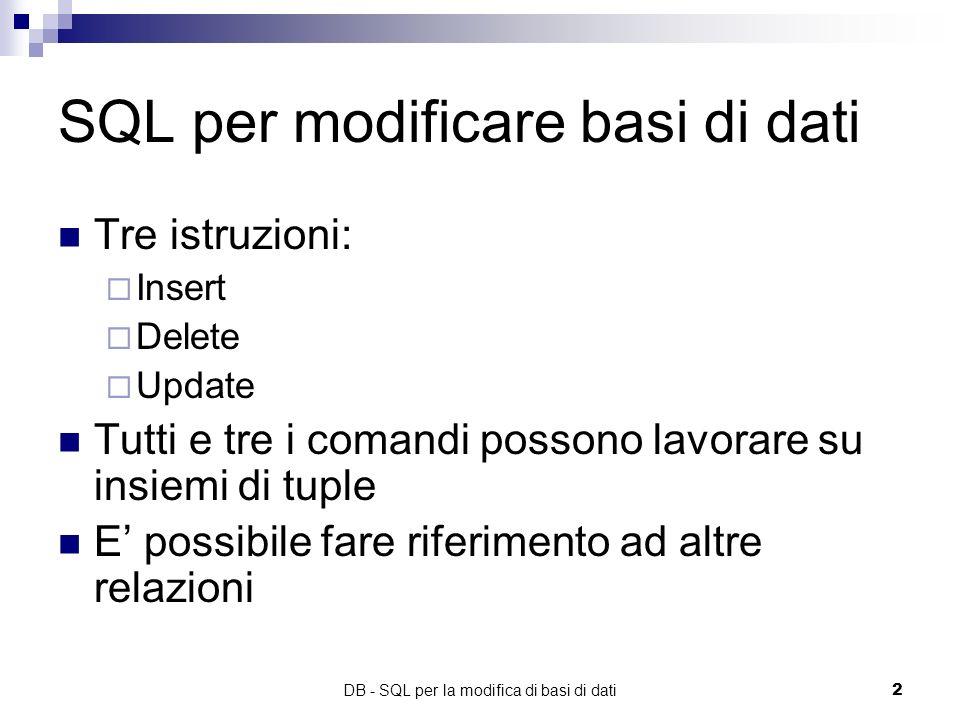 SQL per modificare basi di dati