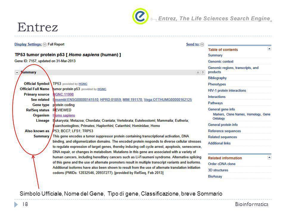 Entrez Simbolo Ufficiale, Nome del Gene, Tipo di gene, Classificazione, breve Sommario.