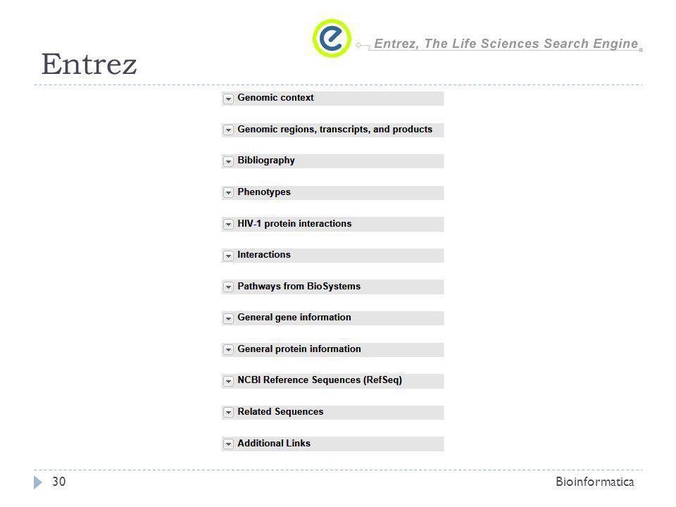 Entrez Bioinformatica
