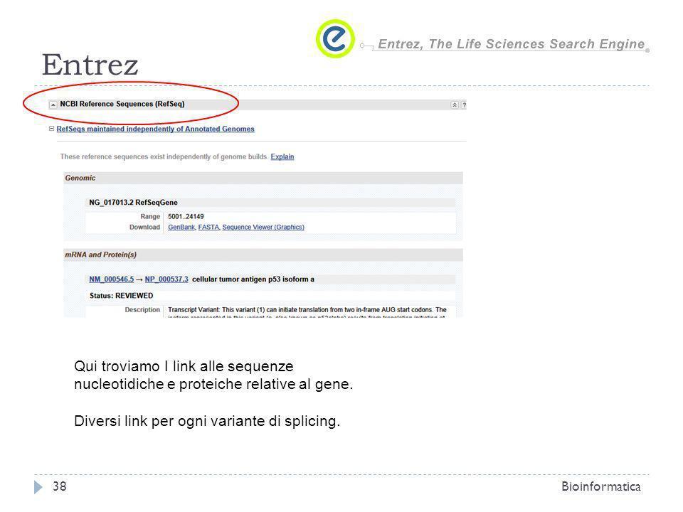 Entrez Qui troviamo I link alle sequenze nucleotidiche e proteiche relative al gene. Diversi link per ogni variante di splicing.