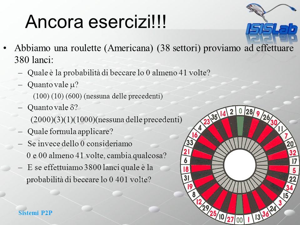 Ancora esercizi!!! Abbiamo una roulette (Americana) (38 settori) proviamo ad effettuare 380 lanci: