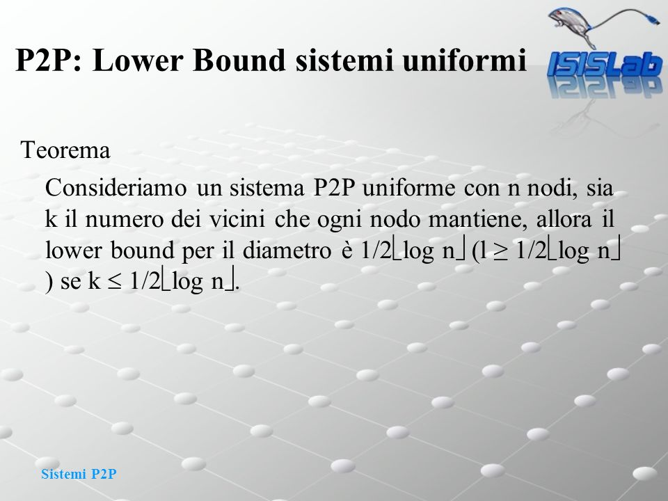 P2P: Lower Bound sistemi uniformi