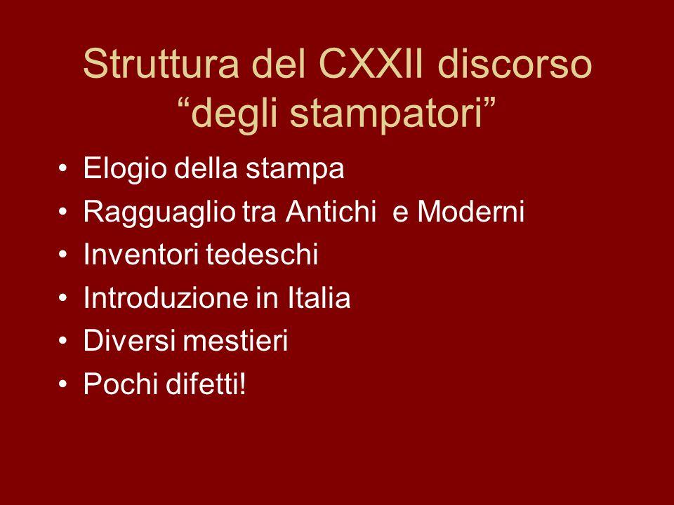 Struttura del CXXII discorso degli stampatori