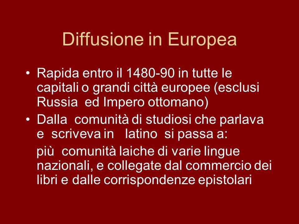 Diffusione in Europea Rapida entro il 1480-90 in tutte le capitali o grandi città europee (esclusi Russia ed Impero ottomano)