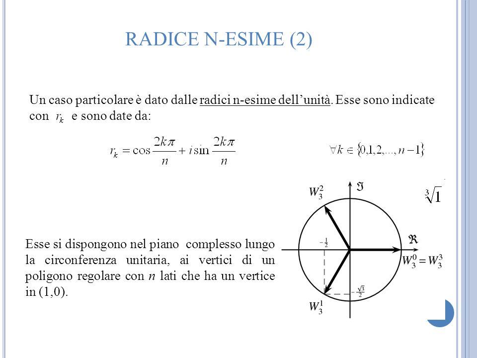 RADICE N-ESIME (2) Un caso particolare è dato dalle radici n-esime dell'unità. Esse sono indicate con e sono date da: