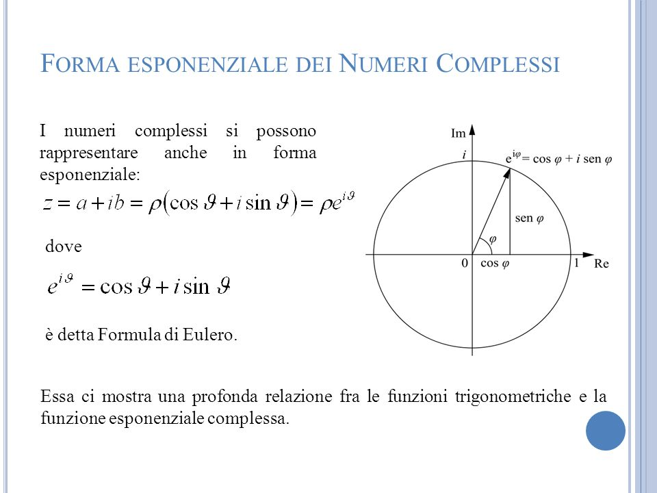 Forma esponenziale dei Numeri Complessi