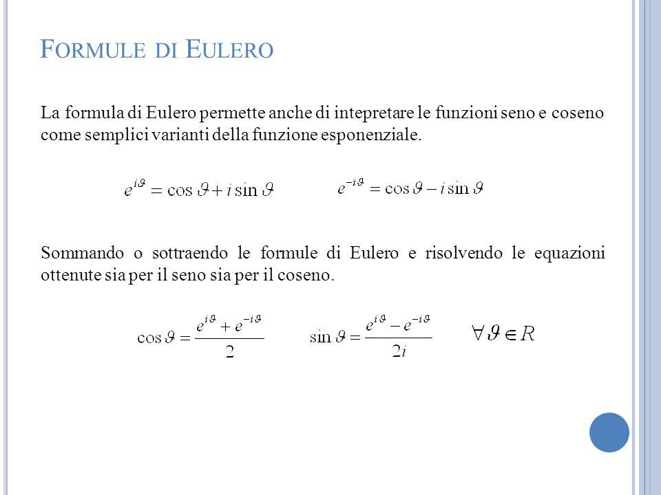 Formule di Eulero La formula di Eulero permette anche di intepretare le funzioni seno e coseno come semplici varianti della funzione esponenziale.