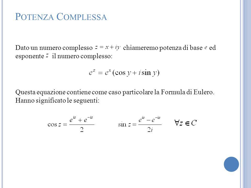 Potenza ComplessaDato un numero complesso chiameremo potenza di base ed esponente il numero complesso:
