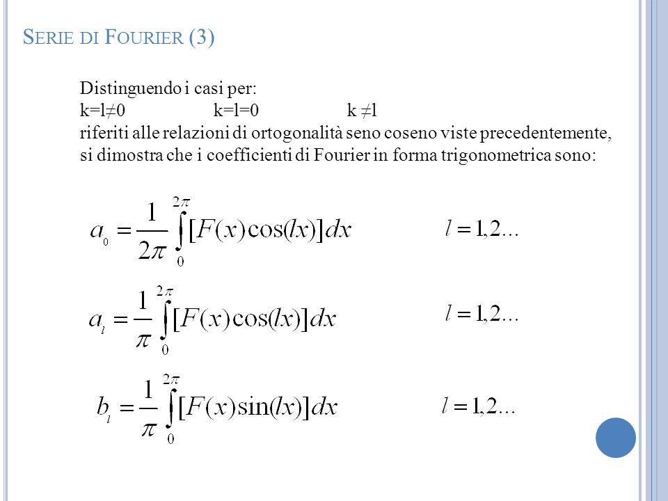 Serie di Fourier (3) Distinguendo i casi per: k=l≠0 k=l=0 k ≠l