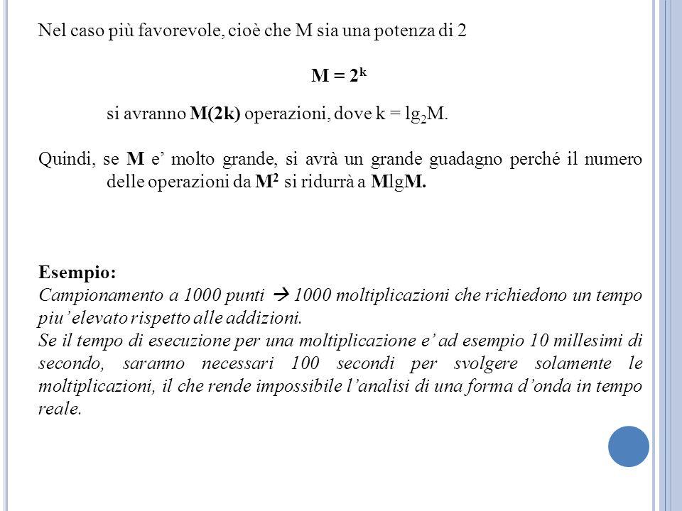 Nel caso più favorevole, cioè che M sia una potenza di 2