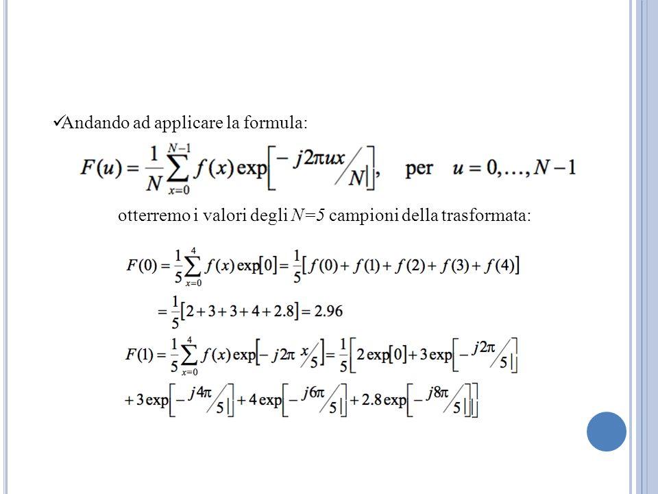 Andando ad applicare la formula: