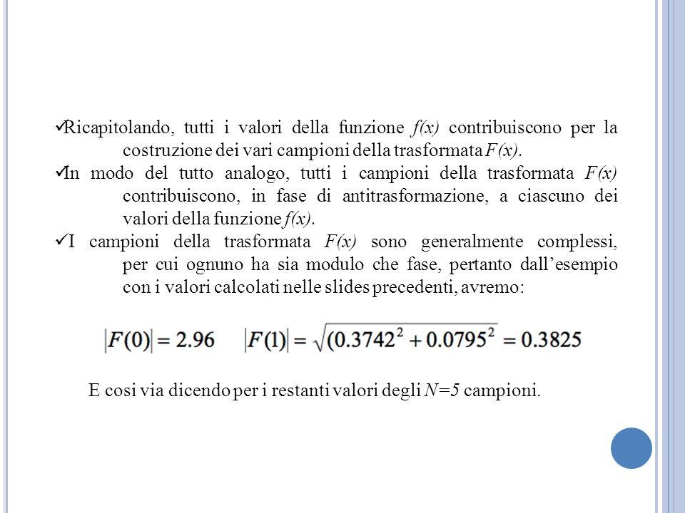 Ricapitolando, tutti i valori della funzione f(x) contribuiscono per la costruzione dei vari campioni della trasformata F(x).