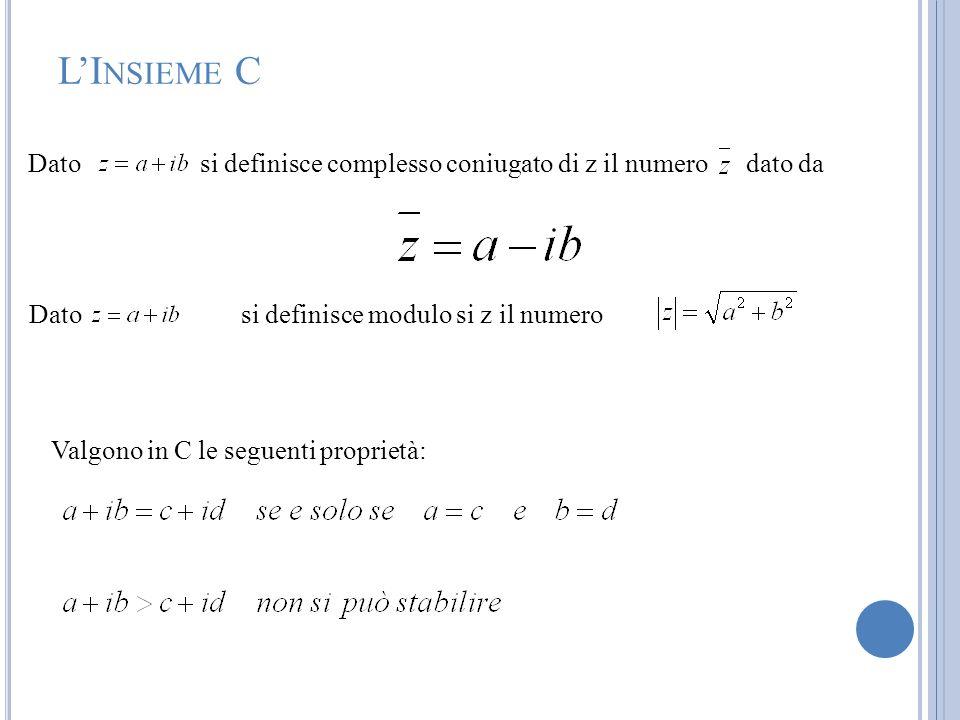 L'Insieme C Dato si definisce complesso coniugato di z il numero dato da. Dato si definisce modulo si z il numero.