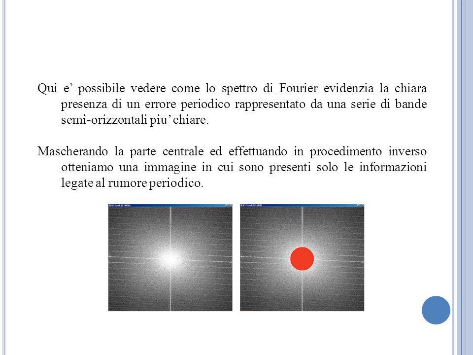 Qui e' possibile vedere come lo spettro di Fourier evidenzia la chiara presenza di un errore periodico rappresentato da una serie di bande semi-orizzontali piu' chiare.