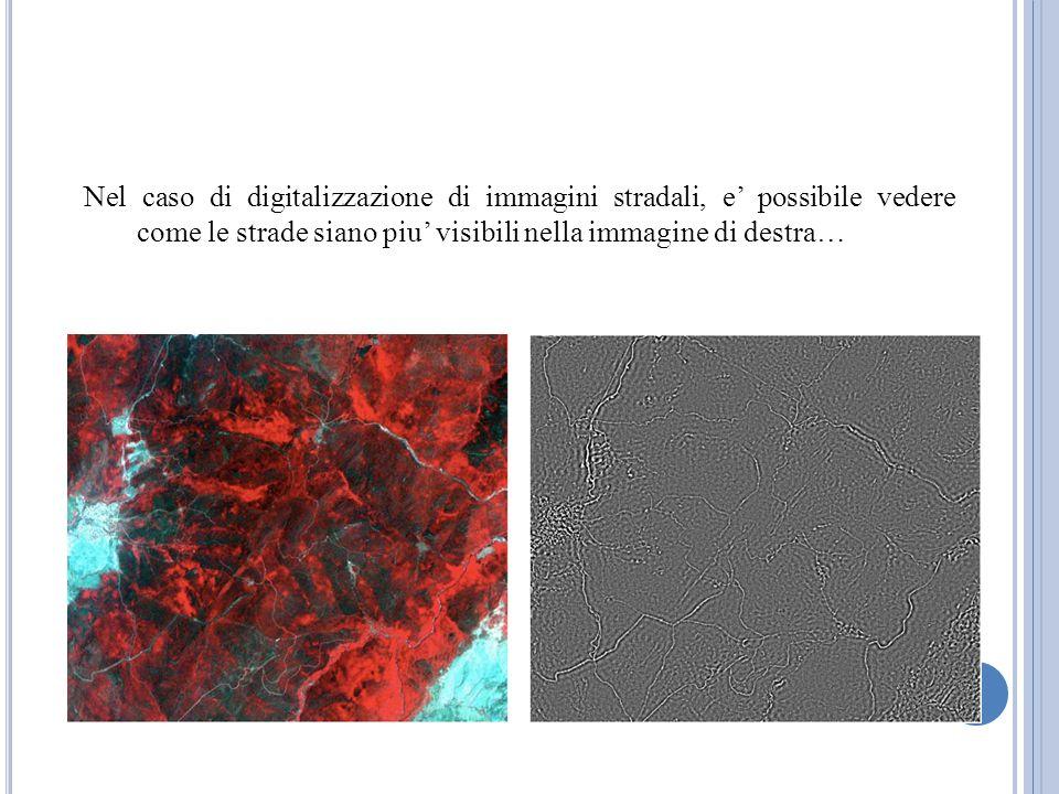 Nel caso di digitalizzazione di immagini stradali, e' possibile vedere come le strade siano piu' visibili nella immagine di destra…