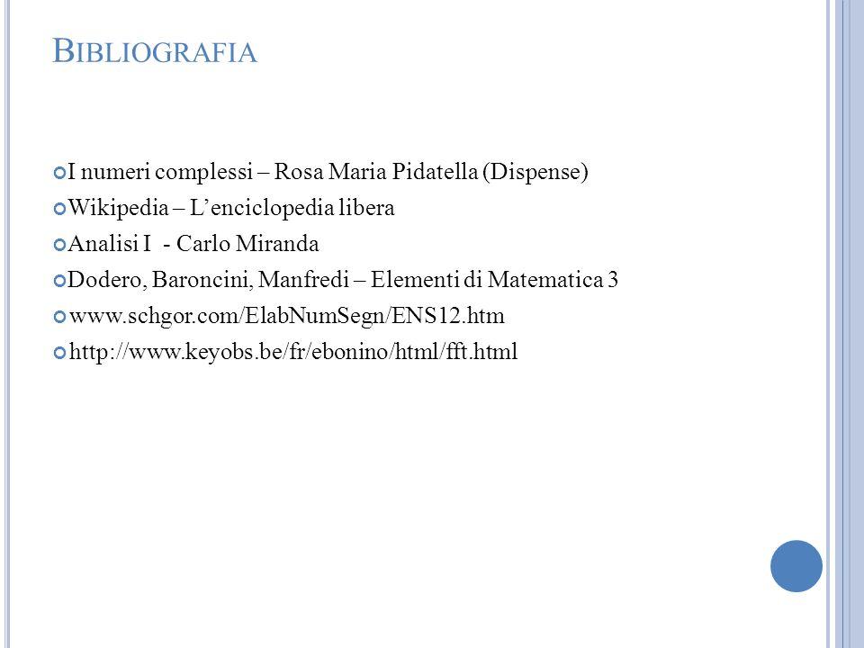 Bibliografia I numeri complessi – Rosa Maria Pidatella (Dispense)