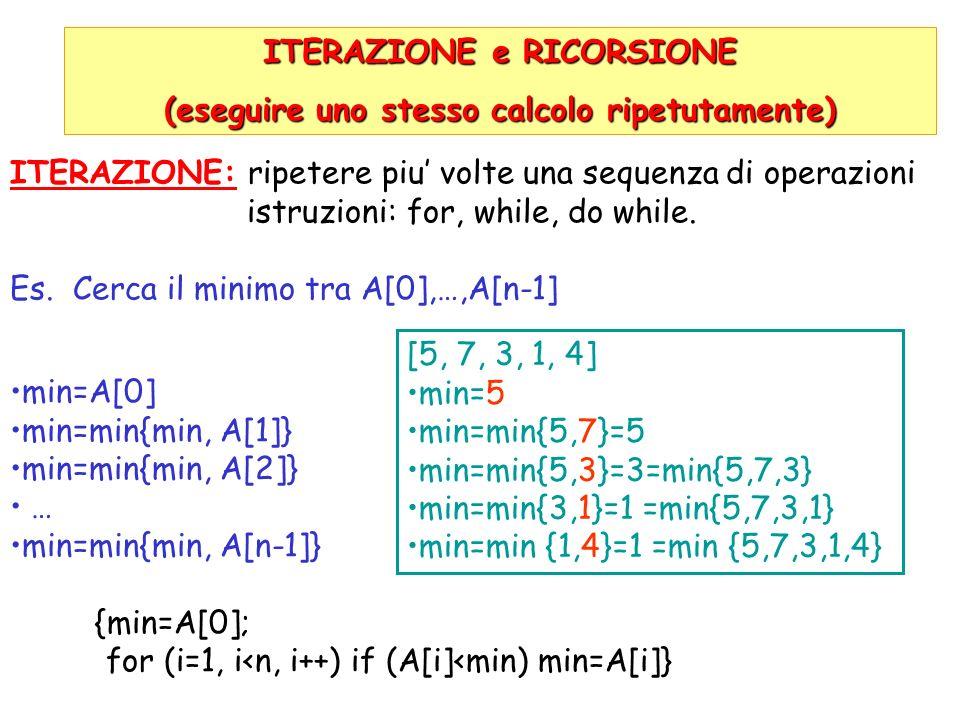 ITERAZIONE e RICORSIONE (eseguire uno stesso calcolo ripetutamente)